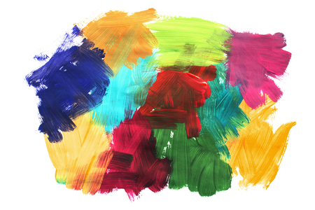 Colorful abstract paint brush strokes on white background 스톡 콘텐츠