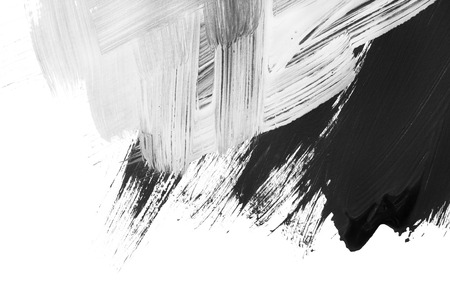 Abstract black and white gouache brush strokes on white as a background Imagens