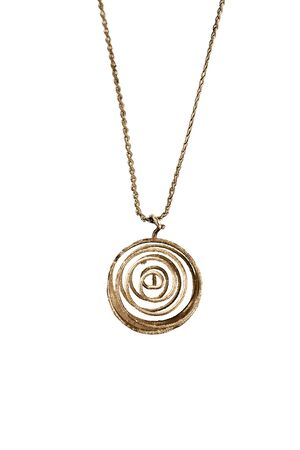 Golden wire spiral pendant hanging on a chain isolated over white