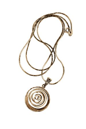 Golden wire spiral pendant on a chain on white background