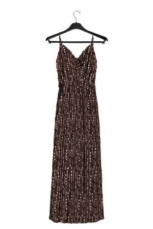 Brown long sundress on black clothes rack isolated over white Foto de archivo