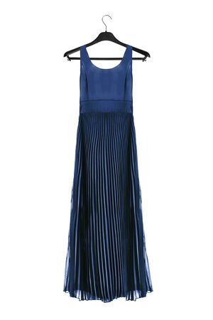 Blue long formal gown on black clothes rack isolated over white