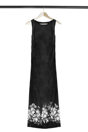 Black long sleeveless dress on wooden clothes rack isolated over white