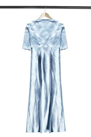 Blue satin long gown on wooden clothes rack isolated over white
