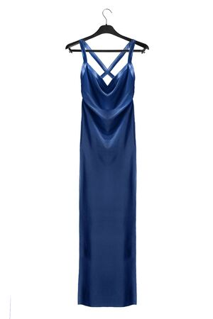 Blue satin gown on black clothes rack isolated over white Stockfoto