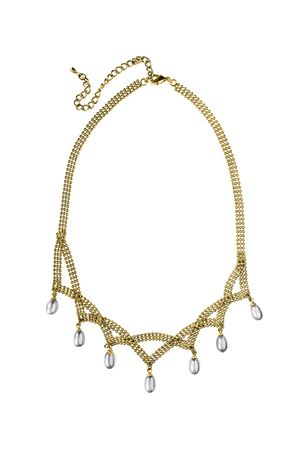 Elegant gold necklace with white pearl drpos isolated over white
