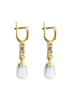 Elegant pearl gold earrings with crystals isolated over white Archivio Fotografico