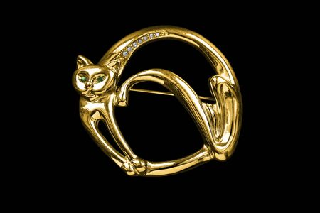 Gold brooch in the shape of a cat with crystals isolated over black Banque d'images - 129709809