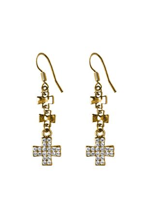 Pair of gold cross earrings with crystals on white background