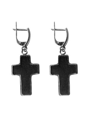 Black leather gothic cross earrings on white background