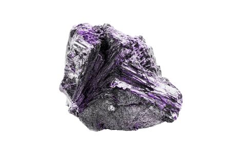 Purple large natural mineral on white background