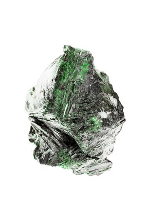 Large green natural crystal mineral on white background