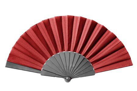 Tekstylny czerwony elegancki wentylator na białym tle nad białym