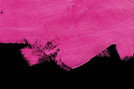 Abstract neon pink painting on black as a background