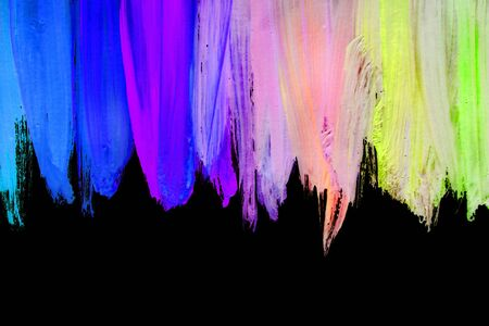 Colorful abstract neon acrylic painting on black background 免版税图像