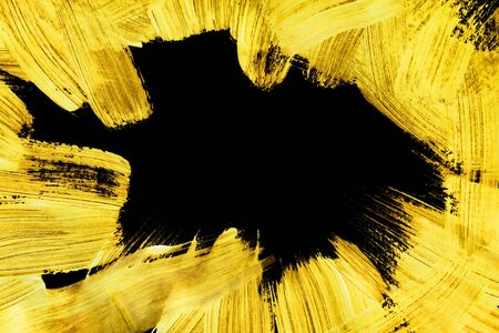 Yellow gouache paint brush strokes on black background