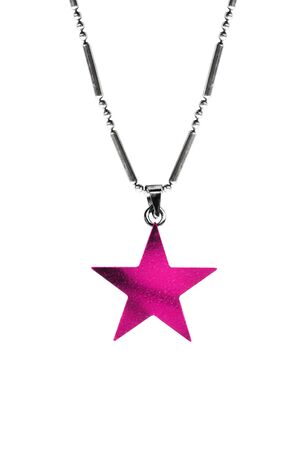 Magenta pink star shaped pendant hanging on a chain isolated over white Imagens