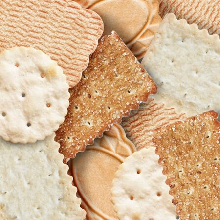 A lot of sweet and salt cookies closeup as a background