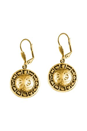Vintage gold zodiac earrings on white background