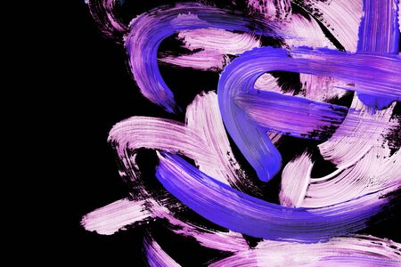 Pink and purple acrylic paint abstract brush strokes on black background