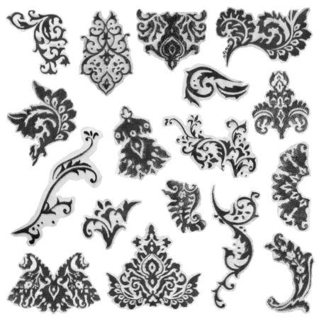Collection of black textile lace details on white background