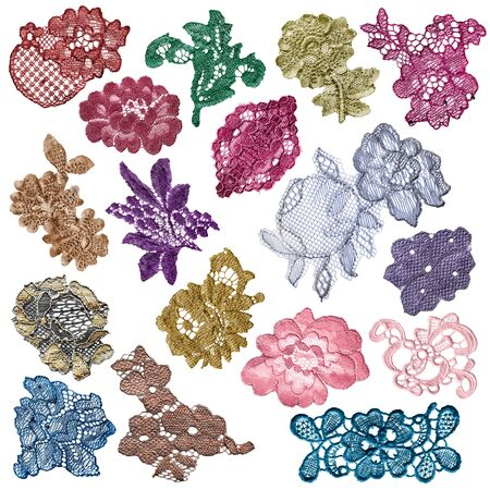 Collection of colorful floral textile lace on white background