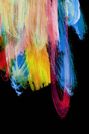 Colorful abstract watercolor paints isolated over black 免版税图像