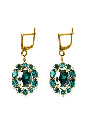 Pair of precious blue aquamarine earrings isolated over white Imagens