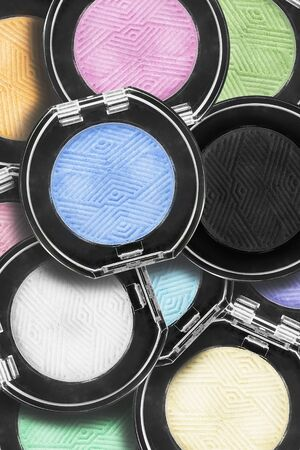 Collection of colorful mat pastel eyeshadow boxes closeup Stok Fotoğraf