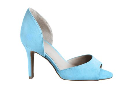 One elegant blue textile open toes high heel shoe on white background
