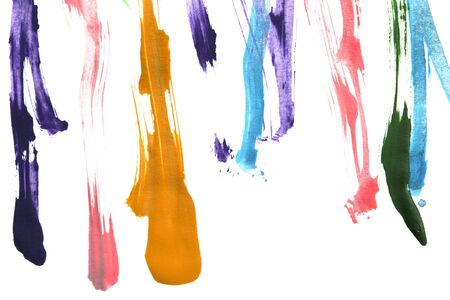 Colorful abstract gouache paint strokes on white background