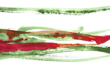 Abstract watercolor green and red paint strokes on white background