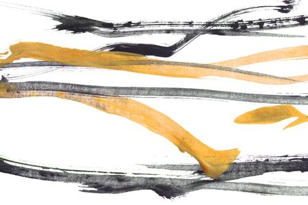 Abstract black and yellow paint strips on white background 写真素材