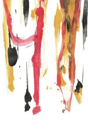 Gouache abstract colorful paint strokes on white background