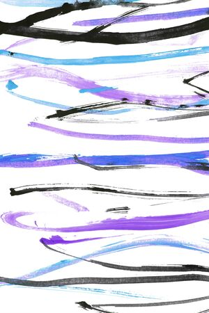 Abstract colorful gouache paint strips on white background