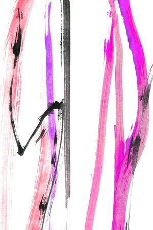 Watercolor pink and black abstract paint strokes isolated over white 写真素材