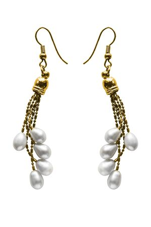 Pair of vintage elegant white pearl gold earrings on white background