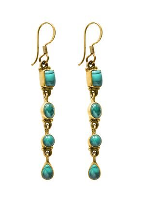 Vintage turquoise gold drop earrings isolated over white