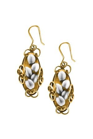 Pair of vintage gold pearl earrings isolated over white 写真素材