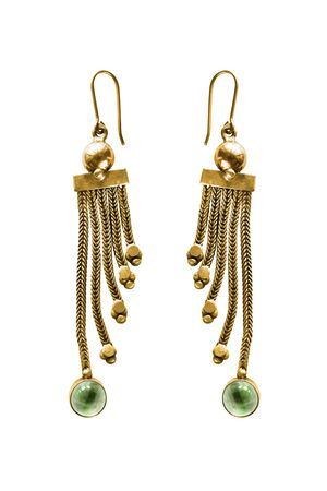Pair of vintage gold earrings with green crystals on white background