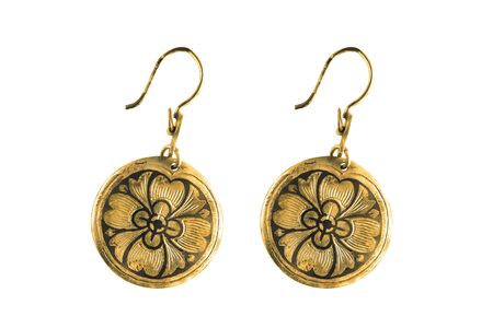 Pair of old gold earrings isolated over white 写真素材