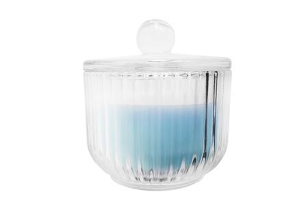 Glass decorative bowl with a cap on white background