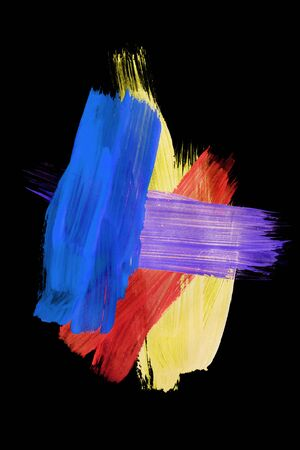 Colorful gouache abstract paint strokes on black background
