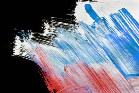 Acrylic abstract white blue and red paint strokes on black as a background 写真素材