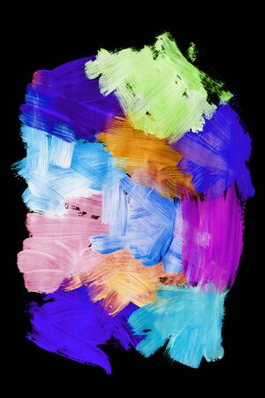 Colorful abstract neon paint strokes on black background