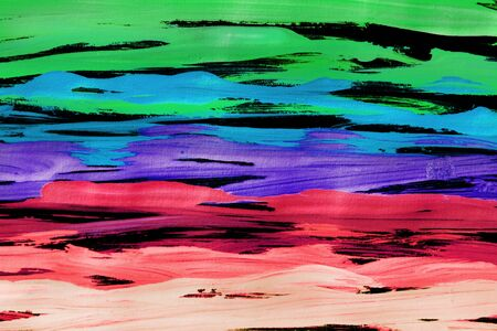 Abstract gouache colorful painting on black as a background 写真素材