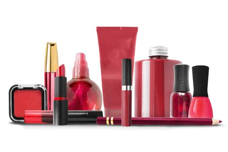 Collection of red colored cosmetics on white background