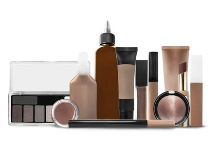 Brown makeup and cosmetic jars on white background