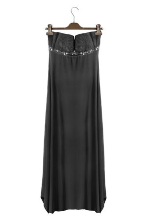 Black satin strapless gown hanging on clothes rack isolated over white