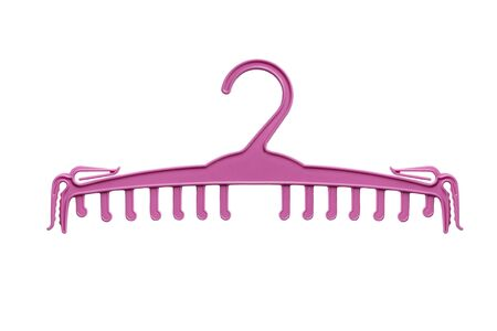 Pink plastic clothes hanger isolated over white 写真素材